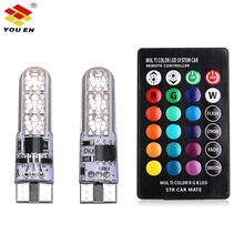 YOUEN RGB T10 W5W Led 194 168 W5W 5050 SMD Car Dome Reading Light Automobiles Wedge Lamp RGB LED Bulb With Remote Controller стоимость