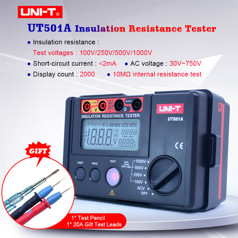 UNI-T UT501A Insulation Resistance Tester 100-1000V Megger Meter Digital Resistance Meter Megohmmeter 30~750V AC Voltmeter+gift