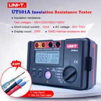 UNI-T UT501A Insulation Resistance Tester 100V--1000V megger earth ground Resistance meter Megohmmeter 30V~750V AC voltmeter