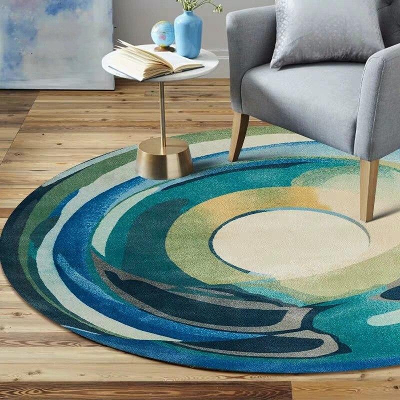 Tapis de salon de forme ronde géométrique moderne, tapis de salon de décoration, tapis d'hôtel, tapis de zone tissé par machine populaire INS
