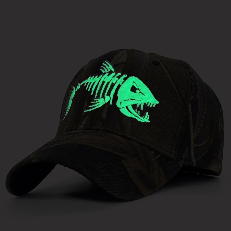 Luminous Embroidery Fish Fishing Men Baseball Cap Camouflage Hunting Mens Caps Outdoor Sports Sun Hat Casual Bone Casquette|Men