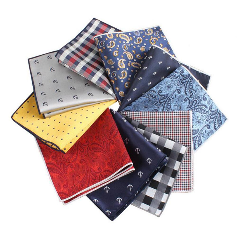 Luxury Men's Handkerchief Polka Dot Striped Floral Printed Hankies Polyester Hanky Business Pocket Square Chest Towel 27*27cm