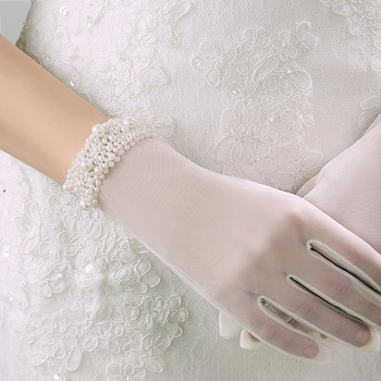 Women Lace Gloves Pearls Ultra-Thin Short Style Elegant Female White Mesh Transparent Glove Party Opera
