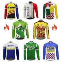 Hot klassischen retro radfahren jersey Männer langarm radfahren kleidung winter fleece und Frühling Herbst dünne MTB maillot ciclismo ALLE