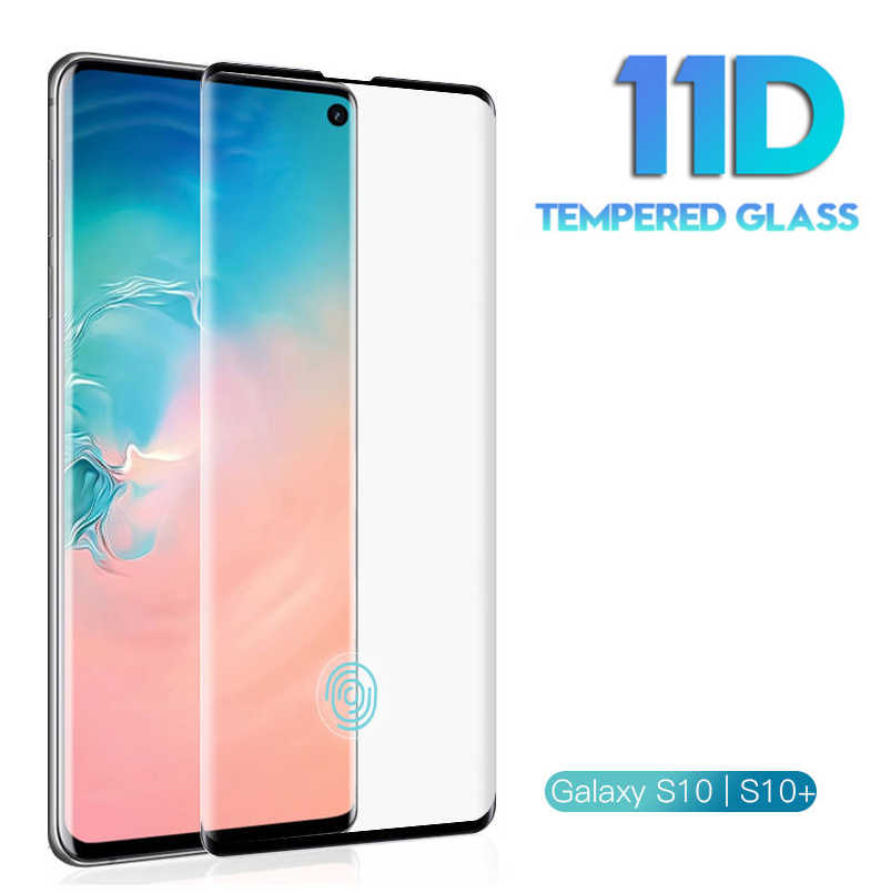 Vidro temperado de tela curvada 11d, vidro temperado para samsung galaxy s8 s9 s10 plus s10e, protetor para samsung note 8 9 película protetora
