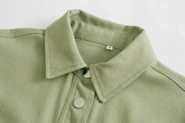 Toppies Green Cotton Shirt Jacket Button Down Loose Coat Women Long Sleeve Pockets Jacket Streetwear 3