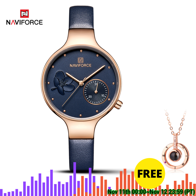 NAVIFORCE Blue Leather Watch Women Quartz Watches Ladies High Quality Waterproof Wristwatch Gift For Wife 2019 Relogio Feminino