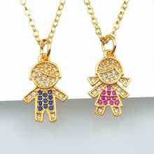 Cubic Zirconia Family Love Kids Pendants for Women collier femme 24K Gold Small Girl Boy Pendant Necklace Family Jewelry collar mossovy korean cubic zirconia butterfly pendant for female fashion popular pendants for women jewelry