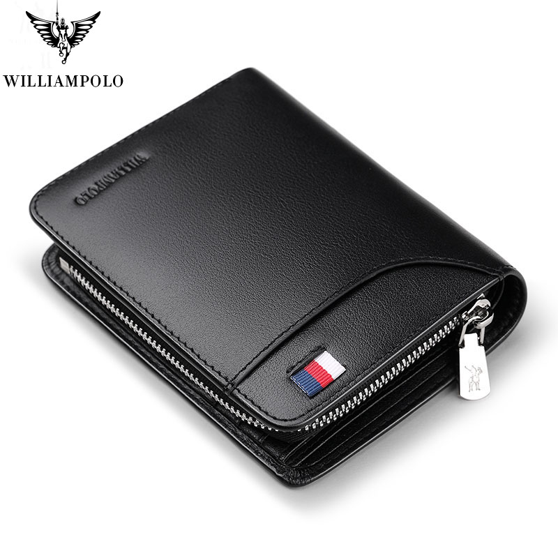 Genuine Leather Mens Wallet Man Cowhide Cover Coin Purse Small Brand Male Credit&ID Multifunctional Walets Pl298