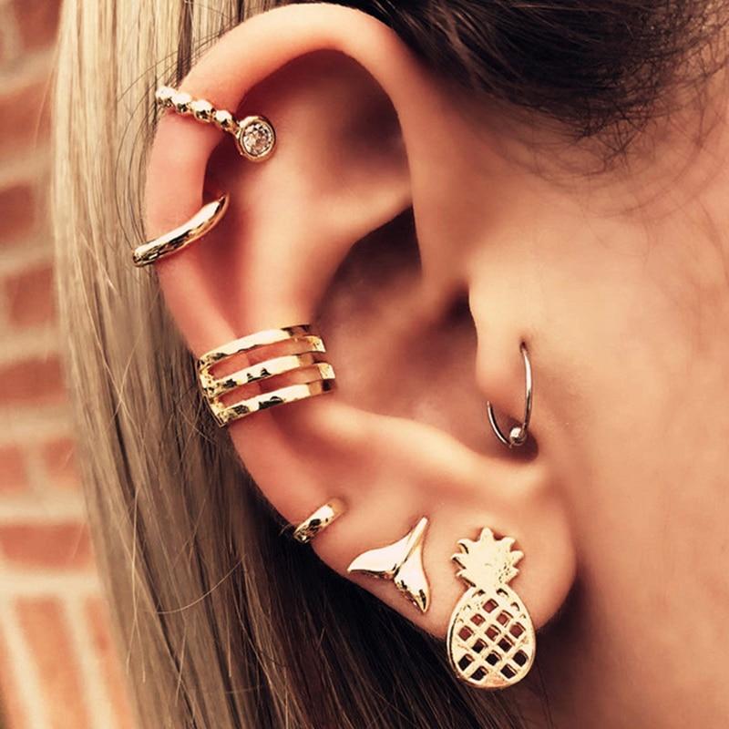 Fashion 7 pcs/set Brincos Female Rhinestone Earrings Set Gold Color Stud Earring for Women Fashion Jewelry
