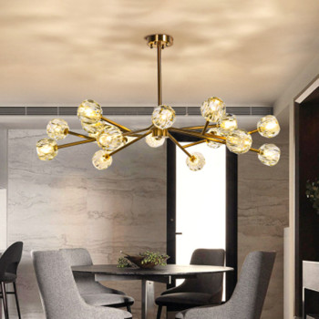 2019 New crystal ball ceiling Lighting Gold branch design lustres ceiling lamp for living dining room cristal lighting fixtures