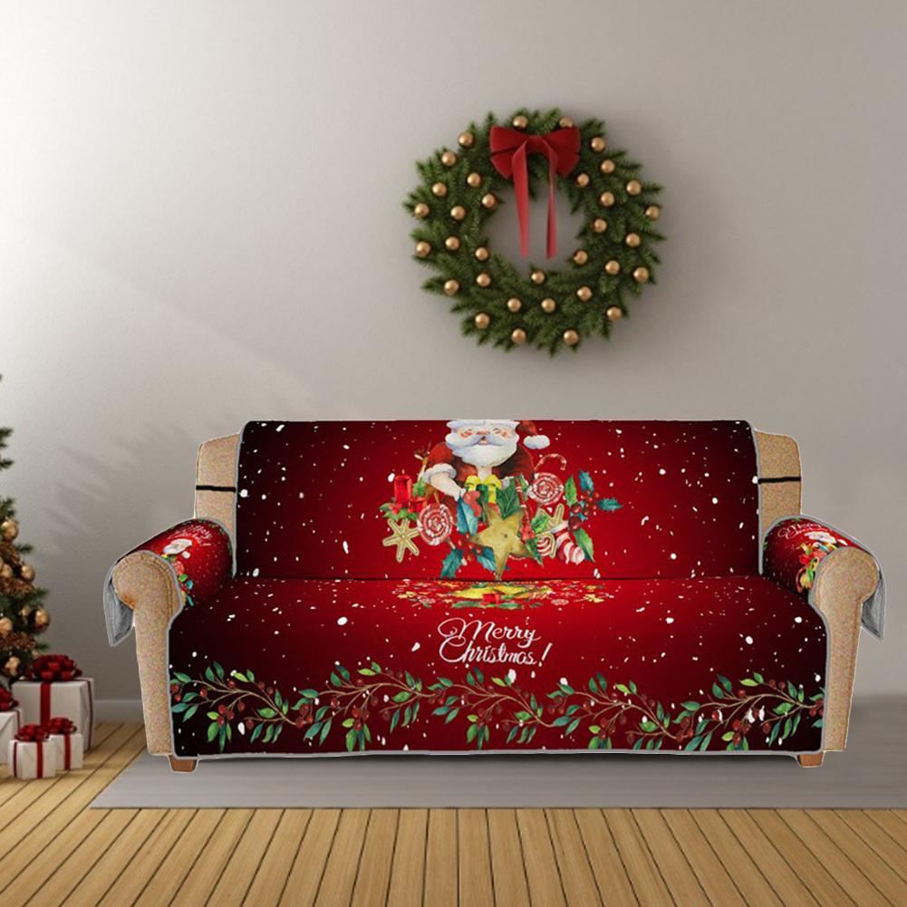 Рождество 3D цифровые печатные красный диван крышка для защиты от пыли-1 шт./2/3 местный эластичные защитные крышки стирать в стиральной машин...