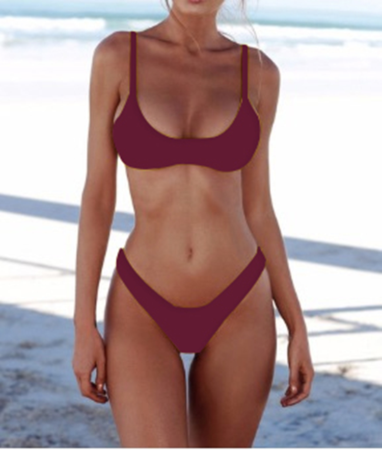 New Solid Sexy Bikini Two-Piece Swimwear Women Swimming Suit Fashion Plus Size XL Sets Swimsuit Bathing Suit Female Biquini 3