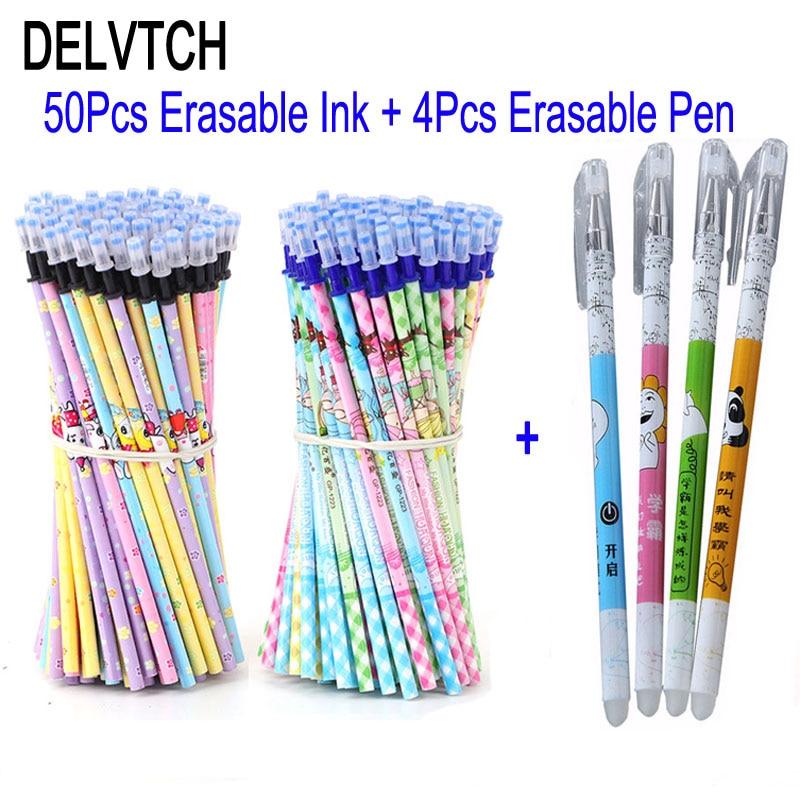 DELVTCH 50+4pcs/set Erasable Pen Refill Rods 0.5mm Blue/ Black Ink Writing Neutral Erasable Gel Pen Refill School Stationery