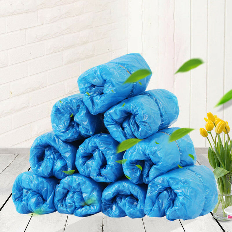 100PCS Disposable Shoe Cover Overshoes Anti Slip Plastic Cleaning Boot Safety