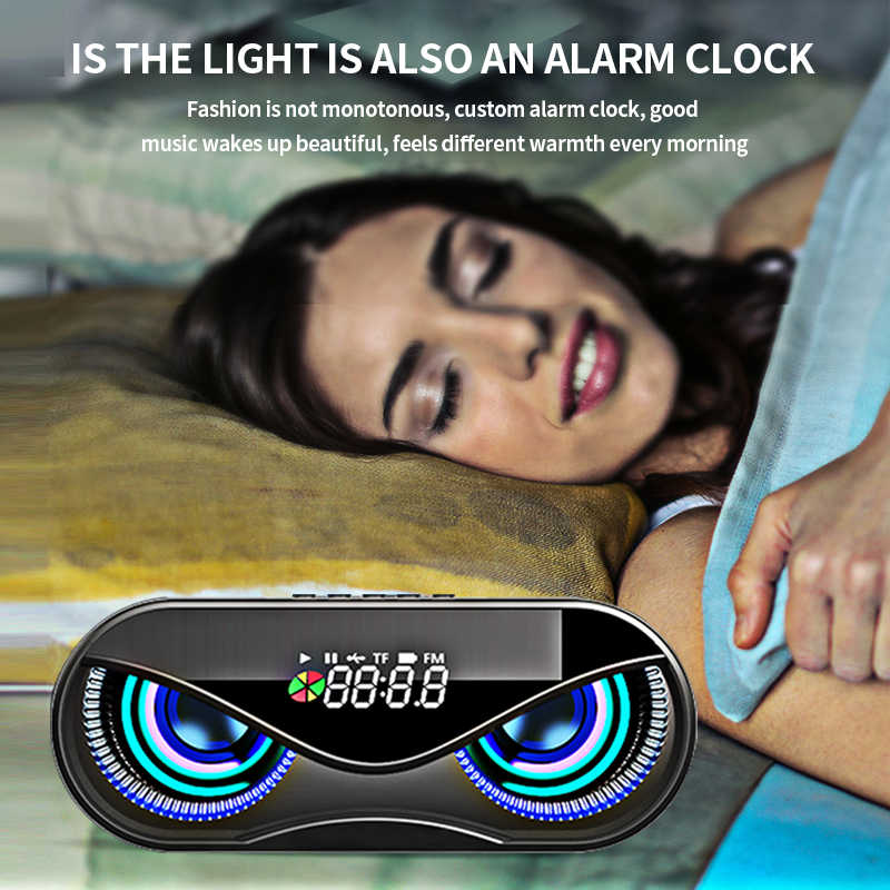 M6 كوول بومة تصميم سمّاعات بلوتوث LED فلاش لاسلكي مكبر صوت FM راديو بساعة منبه TF بطاقة دعم حدد أغاني حسب الرقم