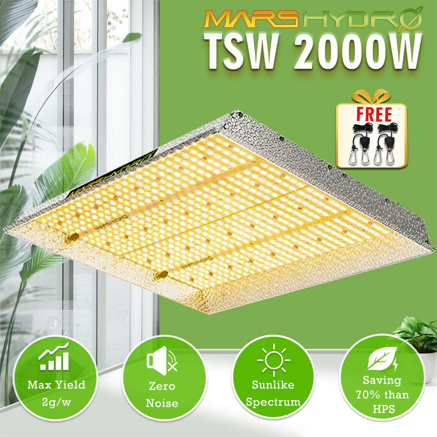 New! Mars Hydro TSW 2000W LED Grow Light Sunlike Full Spectrum For Veg And Bloom Hydroponics