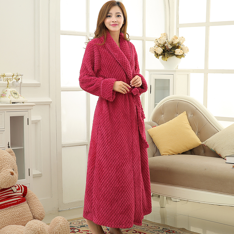 Hot Sale Womens Thick Waffle Long Kimono Bath Robe Women Plus Size Bathrobe Femme Winter Dressing Gown Bridesmaid Robes Wedding