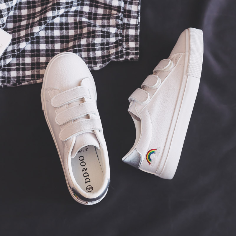 Women Sneakers 2020 Spring New Fashion Shoes Women Leather Sneakers Women Rainbow White Flats Shoes High Quality Shoes Female