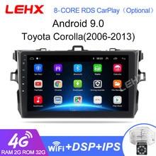 Lehx 2din android 9.0 reprodutor de rádio do carro multimídia para toyota corolla e140/150/2006-2013, 2 din