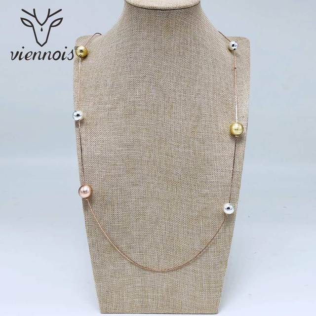 Viennois (More Style )Sweater Chain Gold Color Long Necklace For Women Trendy Style Female Party Jewelry