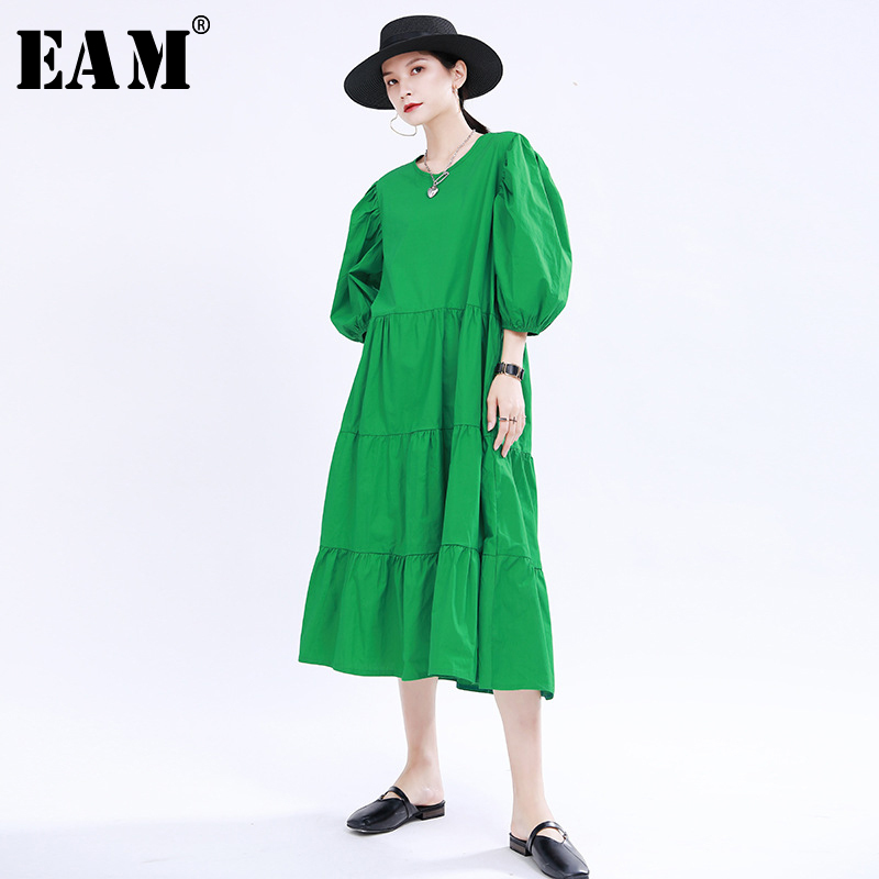[EAM] Women Green Pleated Split Joint Long Dress New Round Neck Puff Sleeve Loose Fit Fashion Tide Spring Summer 2020 1U386
