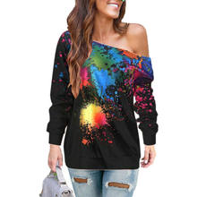 2019 Hot Women Autumn Long Sleeve T Shirt Ladies Casual Loose Printing Scoop Neck One Shoulder Tops Blouse Tee Top Plus Size(China)
