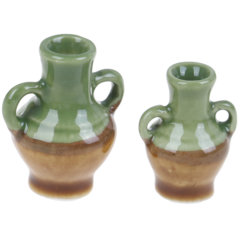 2pcs Furniture Simulation Rement Ceramic Flower Vase Doll House Toys For Kids Children Dollhouse Miniature Accessories