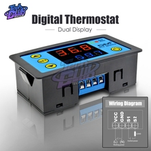DC 12V Thermostat Dual Digital Display Intelligent Temperature Controller Thermometer Control +NTC Sensor Module W3231
