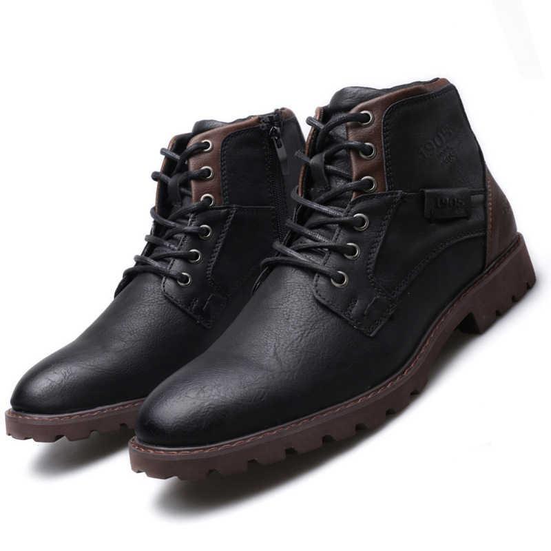 ZYYZYM hommes bottes en cuir printemps automne Vintage Style outillage bottes hommes chaussures à glissière chaussures de loisir à la mode hommes Botas Hombre