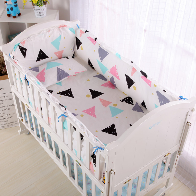 6pcs Colorful Triangle Baby Crib Bedding Sets Kit De Berço Nursery Bedding For Boys Girls And Boy ,4bumper+sheet+pillowcase