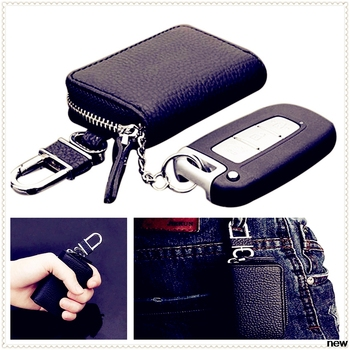 car auto Leather Men Key Keychain Cover Case box for Toyota 4Runner Sienna Sequoia Prius GR Camry i-TRIL COASTER highlander image