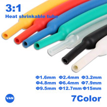 2m 1.6/2.4/3.2/4.8/6.4/7.9/9.5mm Dual Wall thick Glue 3:1 ratio Shrinkable Tubing Adhesive Lined Wrap Wire kit heat shrink tube