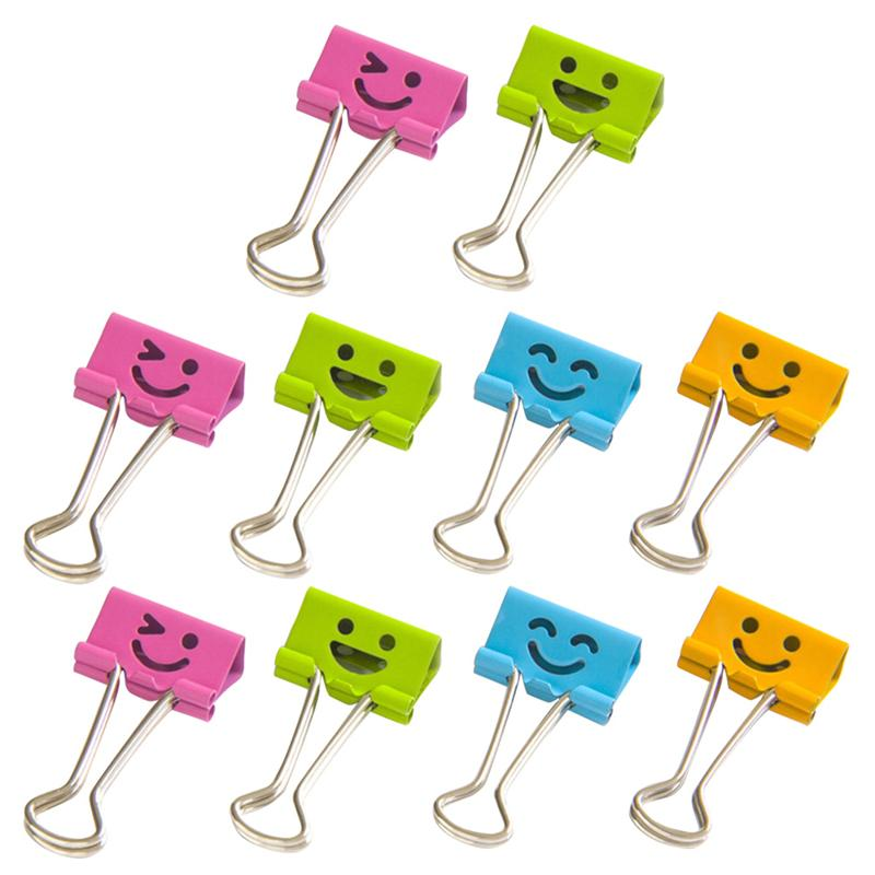10PCS Smile Face Design Metal Binder Clips Paper Clamp Clips Dovetail Design Clamps For School Office (Random Color)