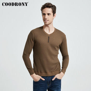 COODRONY Sweater Men Casual V-Neck Pullover Shirt Spring Autumn Slim Fit Long Sleeve Mens Sweaters Knitted Cotton Pull Homme Top