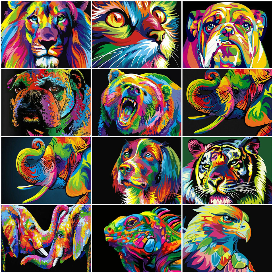 AZQSD Paint By Numbers On Canvas Animal Unframe Unique Gift DIY Pictures By Numbers Elephant Acrylic Paint Handpainted Gift