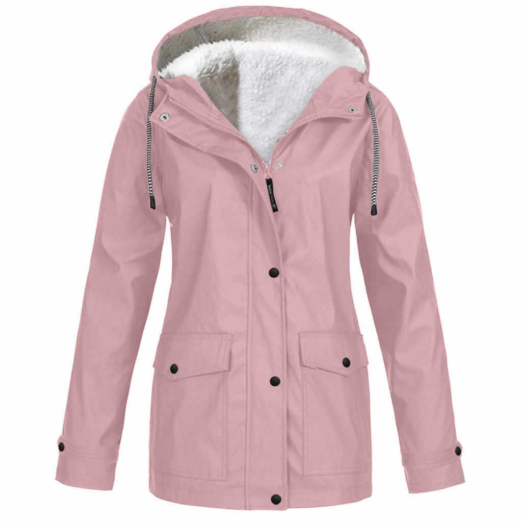 Klv casaco de inverno feminino, jaqueta espessa de pelúcia para áreas externas, plus size, com capuz, capa de chuva, à prova de vento, frete grátis d4