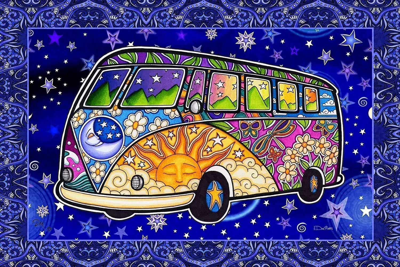 Hippie Bus Peace Van Tapestry By Dan Morris