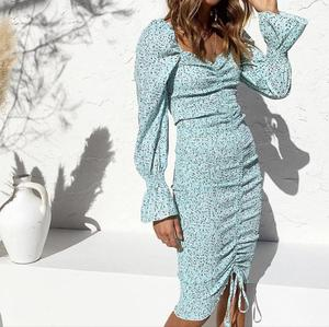 Image 4 - 2020 حزمة جديدة Hips دوت طباعة فستان بكم طويل أنيق المرأة جلد حتى مطاطا Ruched منتصف فساتين حفلات طويلة سليم صالح Vestido
