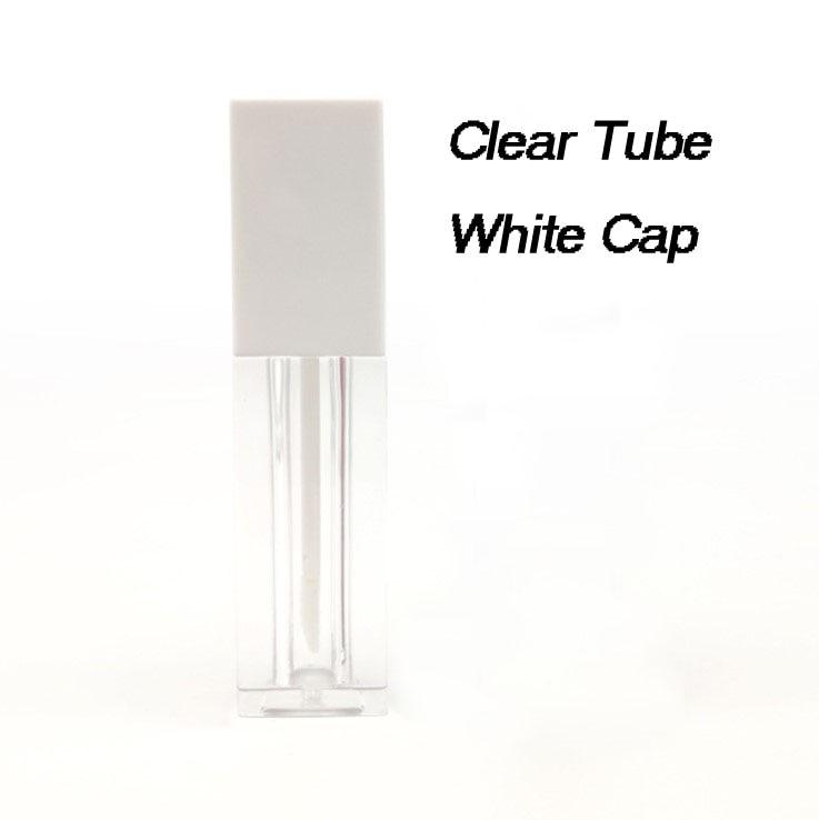 Новые 5 мл пустые трубки для блеска для губ квадратной формы черные, белые крышки прозрачные губные глазури трубки мини-проба флаконы косметический упаковочный контейнер - Цвет: White Cap