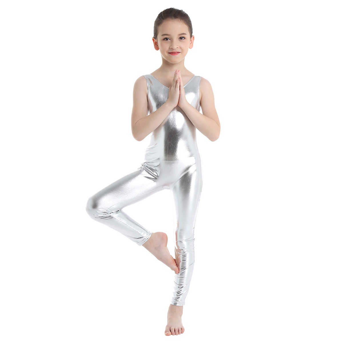 Kids Dancewear Girls Sleeveless Glossy Leotard Shiny Ballet Gymnastics Leotard Jumpsuit Unitard Girl Ballerina Dance Costume