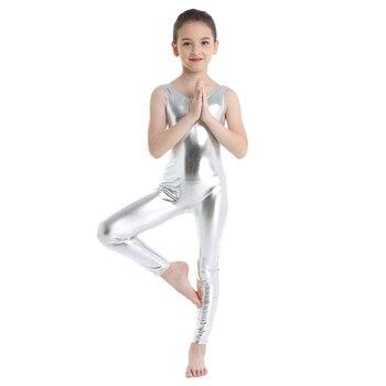Kids Dancewear Girls Sleeveless Glossy Leotard Shiny Ballet Gymnastics Leotard Jumpsuit Unitard Girl Ballerina Dance