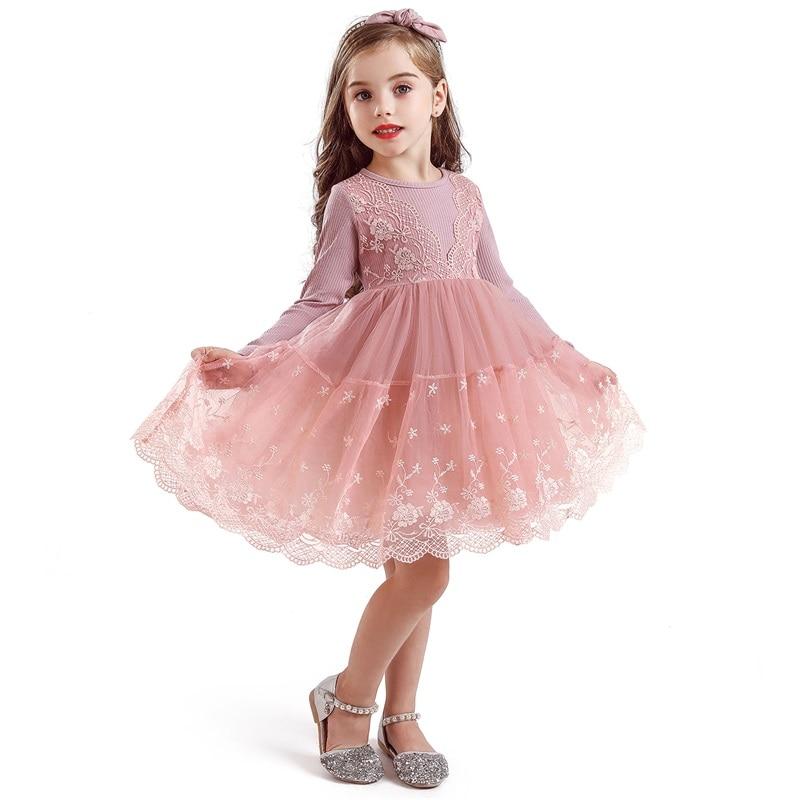 Meninas vestido bonito rendas tule outfits 2019 vestidos da menina do inverno para a festa de aniversário do baile de formatura cerimônias infantil 3 5 7 8yrs