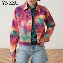 2019 Autumn Women Tie-dyed denim jackets  Turn Down collar Loose Short jean Coat Casual fashion Girls outwear Spring YNZZU YO967