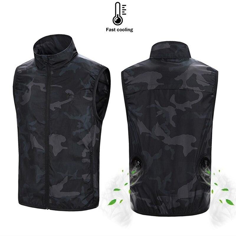 PARATAGO, летний охлаждающий вентилятор, жилет, USB, умная зарядка, одежда для мужчин и женщин, на открытом воздухе, Солнцезащитная куртка, дышащий...