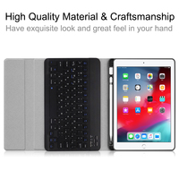 """case ipad For iPad 10.2"""" 2019 Russian Detachable Bluetooth Keyboard with Cloth Grain PU Leather Case Tablet Protective Cover and Pen Slot (5)"""