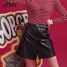 ELFSACK Black Solid Irregular Pocket Leather Mini Women Skirts 2019 Winter New Green Belt Locomotive A Line Ladies Daily Skirt