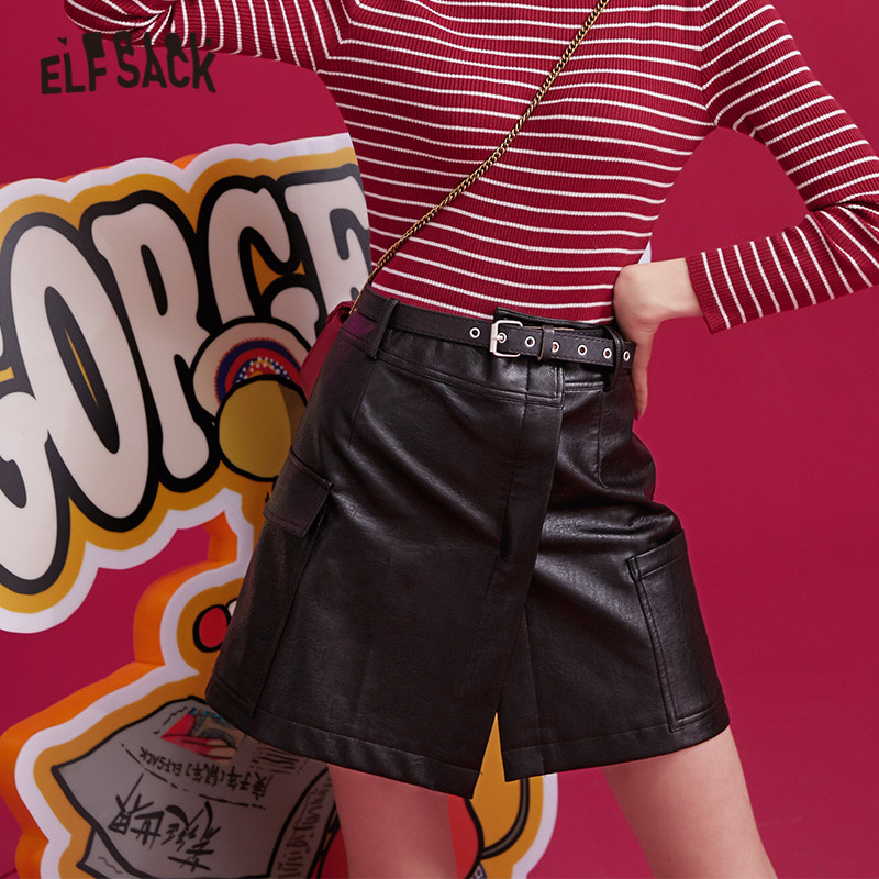 ELFSACK Black Solid Irregular Pocket Leather Women Skirts 2019 Winter New Green Belt Locomotive A Line Office Ladies Daily Skirt