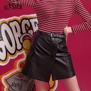 Image 1 - Elfsack 黒固体不規則なポケット革ミニ女性のスカート 2019 冬ニューグリーンベルト機関車 a ラインレディース毎日スカート