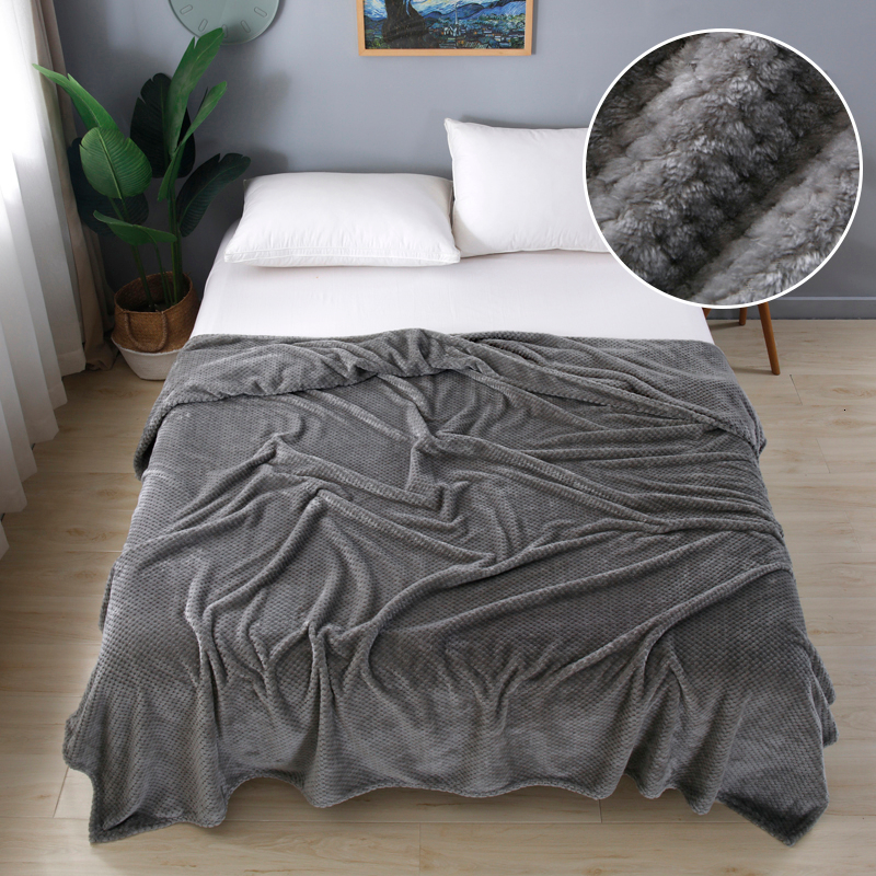 Super Soft Flannel Bedspread High Quanlity Sofa Throw Blanket Fleece Mesh Portable Car Travel Cover Christmas New Year Gift